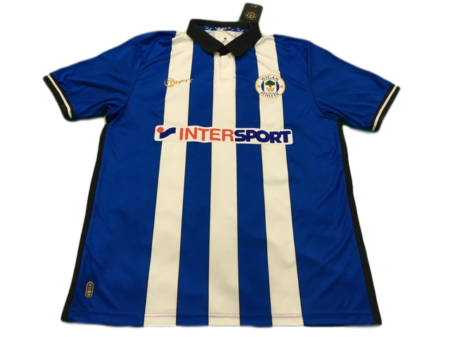 blue & white mi-fit Wigan Athletic 2014-15 Home Football Shirt