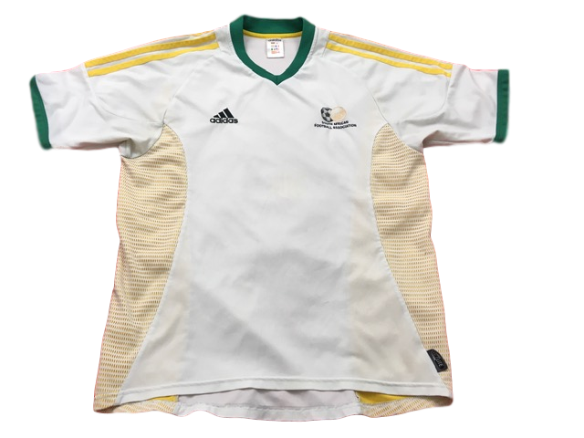 white adidas South Africa 2002-04 Home Football Shirt