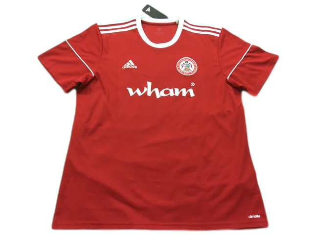 red adidas Accrington Stanley 2017-19 Home Football Shirt