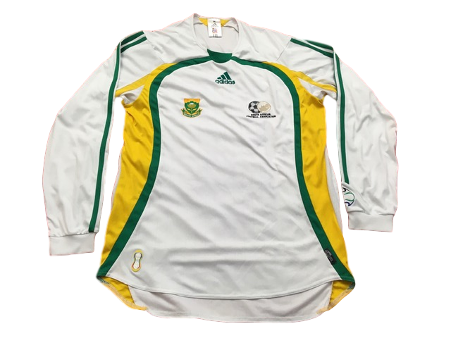white adidas South Africa 2007-08 Home Football Shirt
