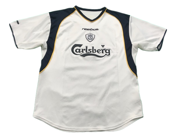 white reebok Liverpool 2001-02 Away Football Shirt