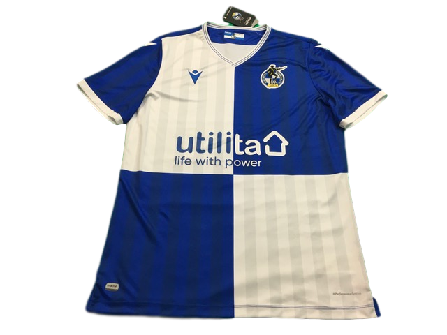 blue & white macron Bristol Rovers 2019-20 Home Football Shirt