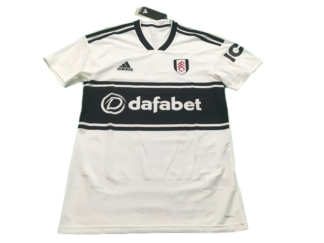 white adidas Fulham 2018-19 Home Football Shirt