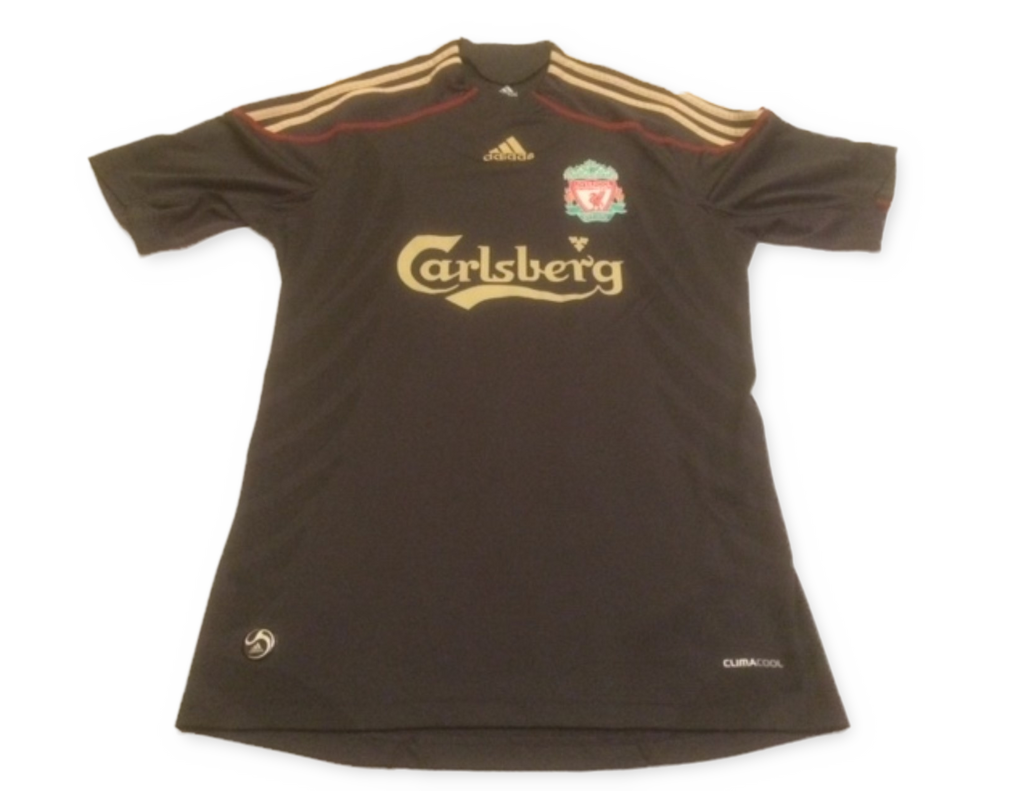 black adidas Liverpool 2009-10 Away football Shirt