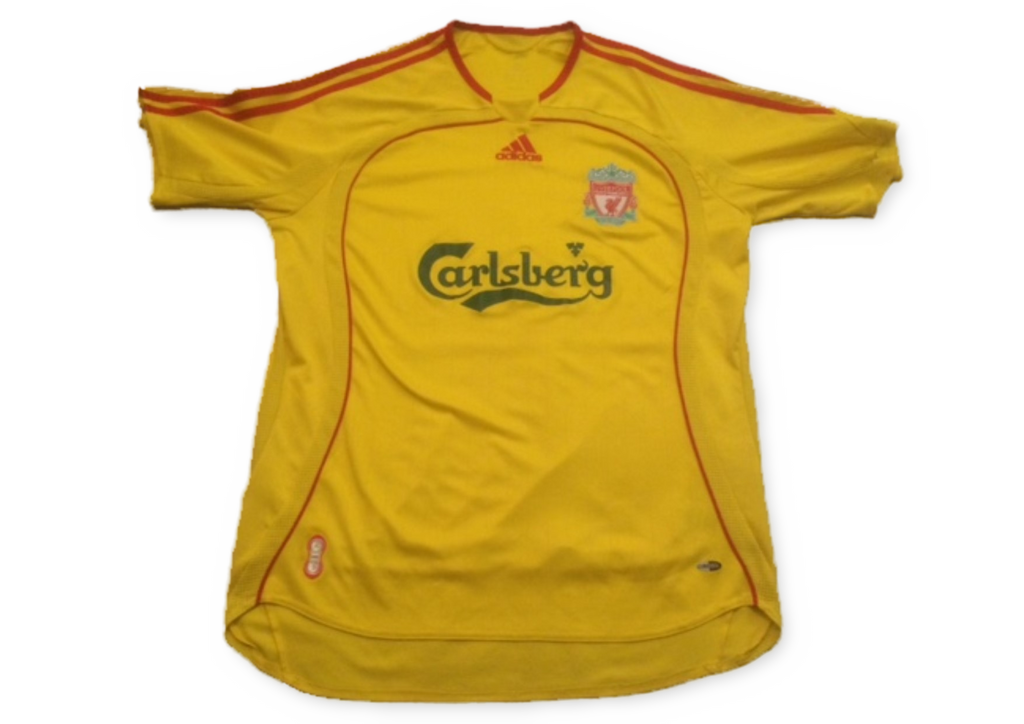 yellow adidas Liverpool 2006-07 Away football Shirt