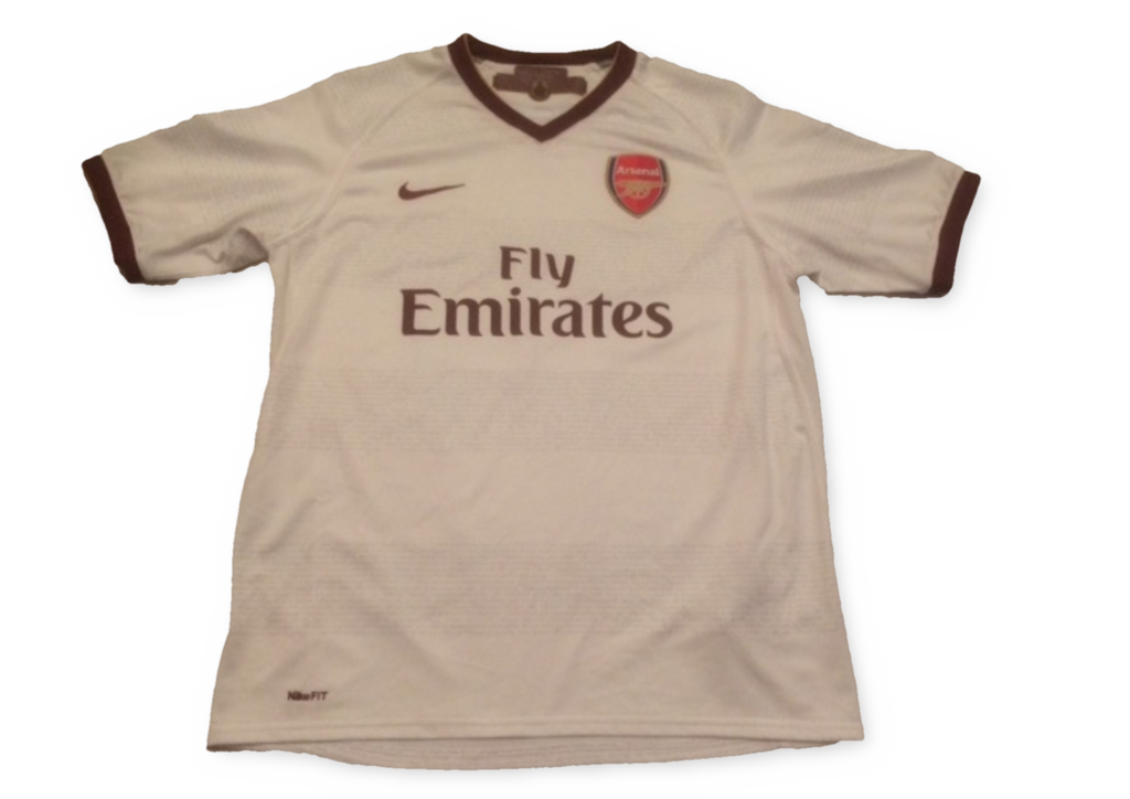 white nike Arsenal 2007-08 Away football Shirt