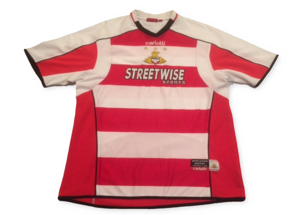 white & red carlotti Doncaster Rovers 2005-06 Home football Shirt