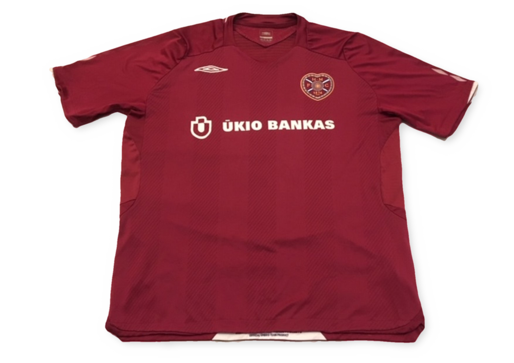 maroon umbro Heart of Midlothian 2008-09 Home football Shirt