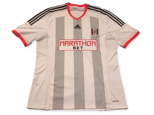 white adidas Fulham 2014-15 Home football Shirt