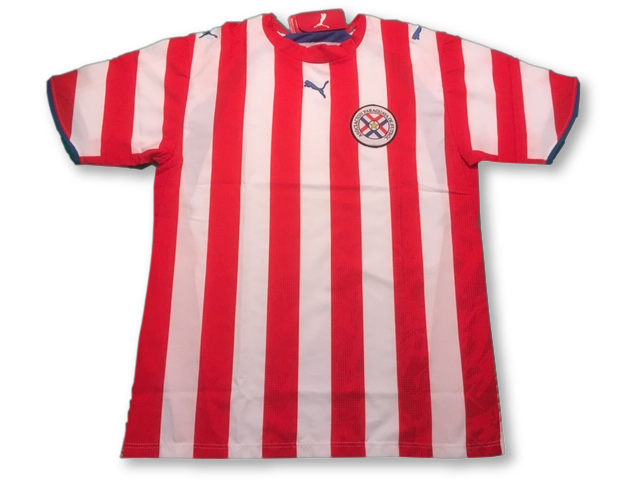 white & red puma Paraguay 2006 Home football Shirt