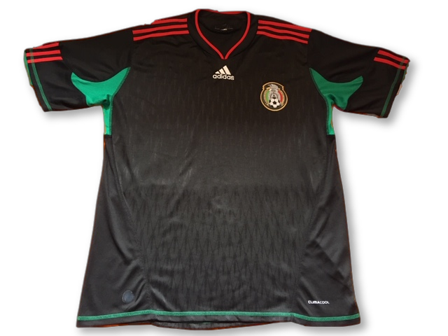 black adidas Mexico 2010 Away football Shirt
