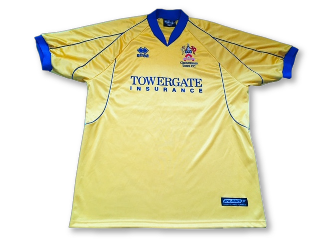 yellow errea Cheltenham Town 2002-03 Away football Shirt