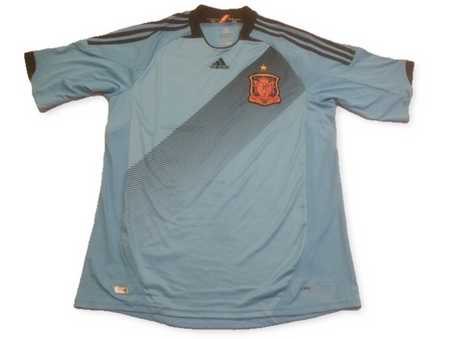sky blue adidas Spain 2012-13 Away football Shirt