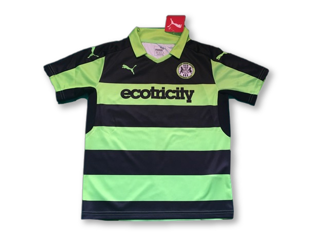green & black puma Forest Green Rovers 2016-18 Home football Shirt