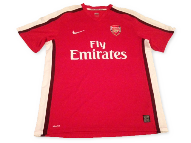 red nike Arsenal 2008-10 Home football Shirt