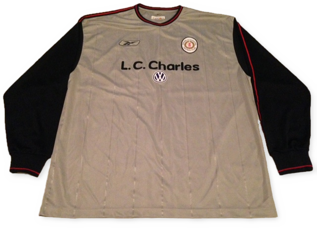 grey reebok Crewe Alexandra 2003-04 Away (Long Sleeved) football Shirt
