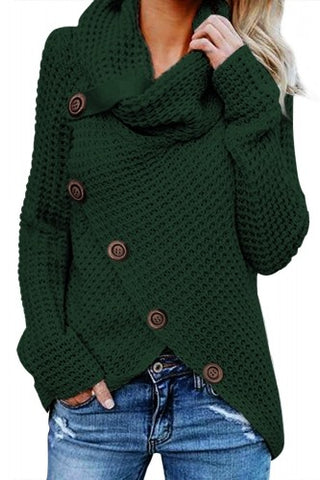 Dark Green Asymmetrical Wrap Turtleneck Sweater