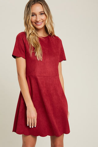 Wine Scalloped Suede Babydoll Dress