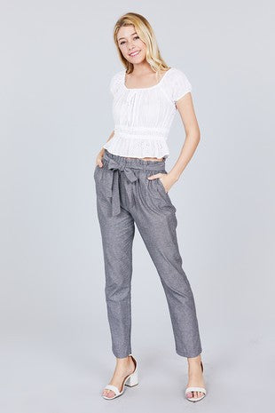Stripe Paper Bag Pants with Belt