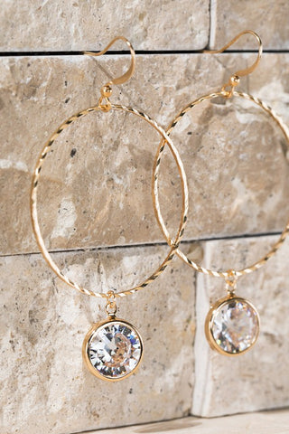 Gold Hoop Earrings with Crystal Charm