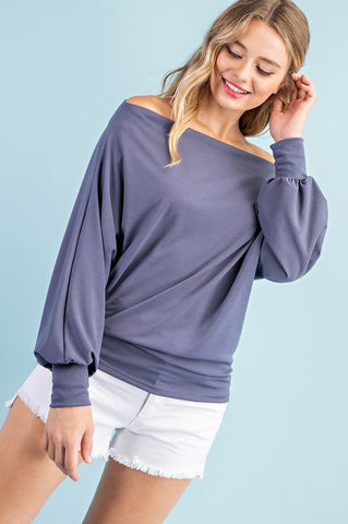 Off The Shoulder Long Sleeve Top (Slate Blue)