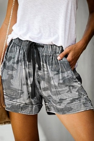 Grey Camo Print Shorts With Pockets