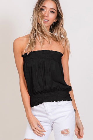 Black Strapless Ribbed Top