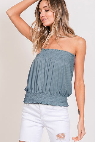 Denim Blue Strapless Ribbed Top