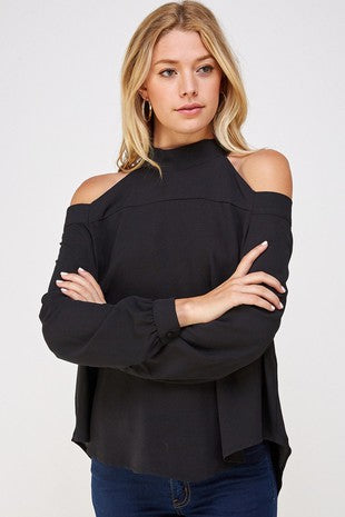 Black Cold Shoulder Halter Top