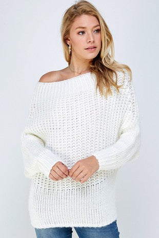 White Off The Shoulder Waffle Knit Sweater