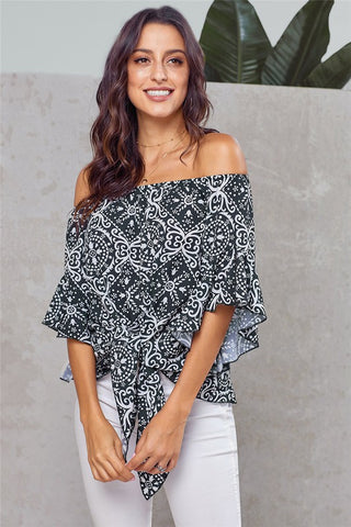Black Damask Off The Shoulder Top