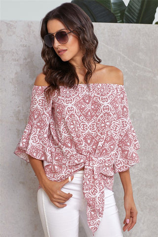 Pink Damask Off The Shoulder Top
