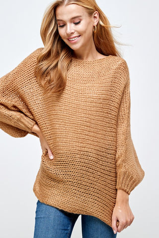 Camel Dolman Sleeve Sweater
