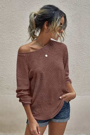 Blush Round Neck Long Sleeve Top