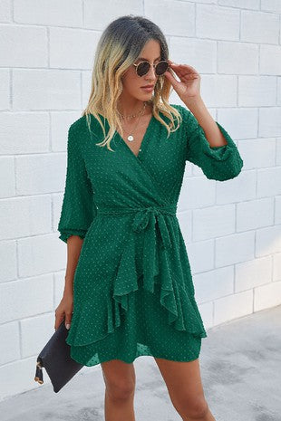 Green V Neck Ruffle Long Sleeve Dress