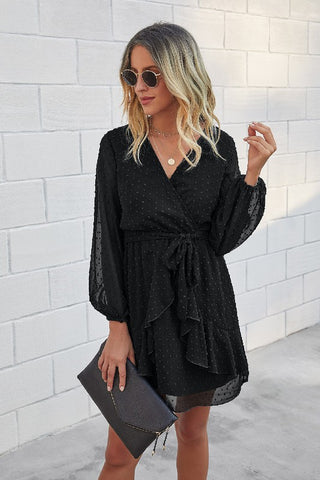 V Neck Wrap Ruffled Long Sleeve Dress
