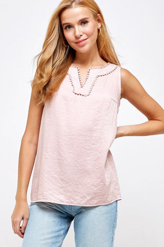 Pink Lace Detail V Neck Top