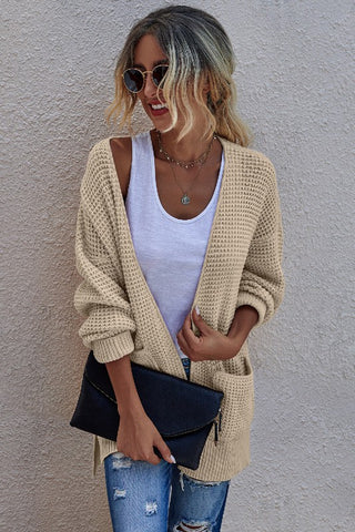 Light Tan Open Front Cardigan