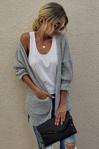 Light Grey Solid Knit Open Front Cardigan