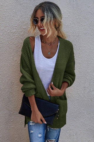 Dark Green Solid Knit Open Front Cardigan