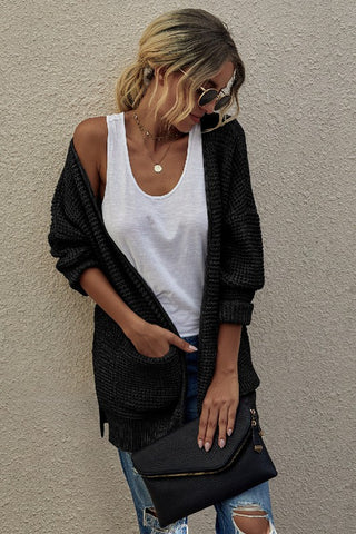 Black Solid Knit Open Front Cardigan