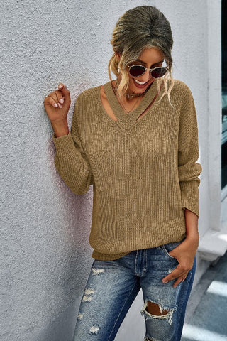 Tan Solid V Neck Long Sleeve Sweater