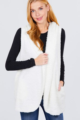 White Faux Fur Fuzzy Vest With a Hoodie