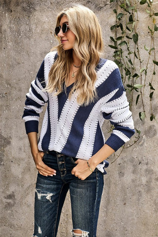 Navy and White Color block V Neck Sweater