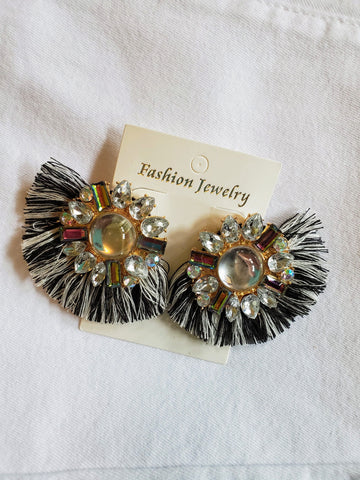 Multicolor Rhinestone Fan-Shaped Tassel Earrings.