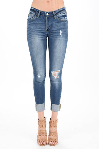 One Knee Distressed Cuffed Jeans