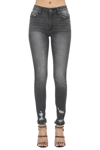 Dark Grey Distressed Ankle Jeans
