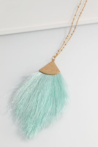 Mint Fine Thread Tassel Necklace