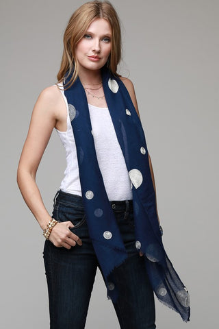 Navy/White Polka Dot Scarf