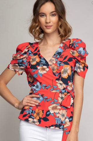 Red Flower Print Blouse